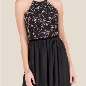 Embroiled black chiffon dress